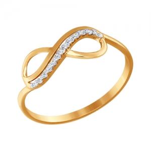 Кольцо из золота Знак бесконечность с фианитами SOKOLOV (17.5 р-р)