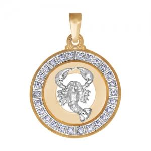 Подвеска «Рак» из золота c фианитами SOKOLOV