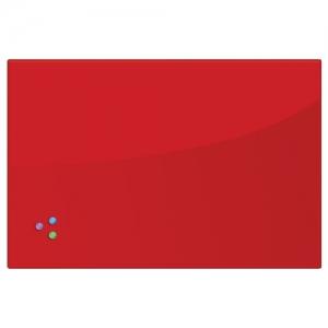 Доска магнитно-маркерная стеклянная 60х90 см, 3 магнита, красная