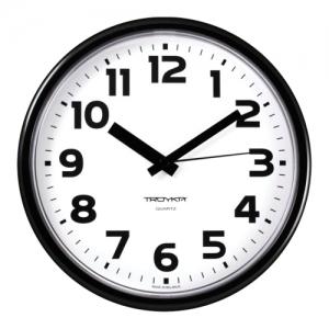 Часы настенные Troyka 91900945, круг, белые, черная рамка, 23х23х4 см