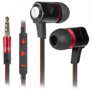 Наушники с микрофоном (гарнитура) вкладыши Defender Lance, проводные, 1,2 м, вкладыши, черные с красным