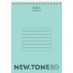 Блокнот А5 (146х205 мм) 80 л., гребень, пластик, клетка Premium, NEWtone Мята