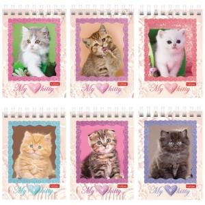 """Блокнот (75х105 мм) А7, 40 л., гребень, обложка картон, клетка, """"Котята"""""""