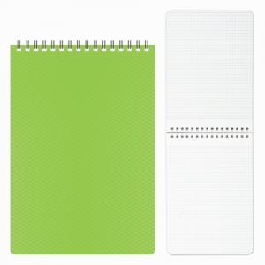 """Блокнот А5 (145х205 мм), 80 л., гребень, пластиковая обложка, клетка, """"DIAMOND"""", зеленый"""
