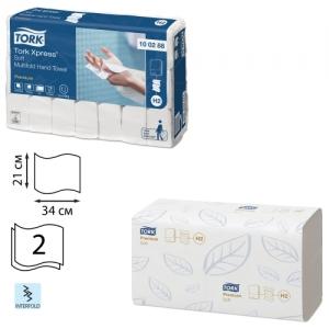 Полотенца бумажные 110 штук, Tork (Система H2) Premium, комплект 21 штука, 2-слойные, белые, 21х34