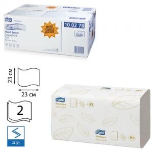 Полотенца бумажные 200 шт., Tork (Система H3) Premium, комплект 15 шт., 2-слойные, белые, 23х23
