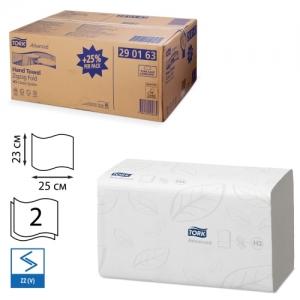 Полотенца бумажные, 250 шт., Tork (Система H3) Advance, комплект 15 шт., 2-слойные, белые, 25х23