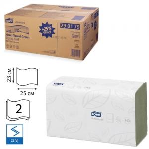 Полотенца бумажные, 250 шт., Tork (Система H3) Advance, комплект 15 шт., 2-слойные, зеленые, 25х23