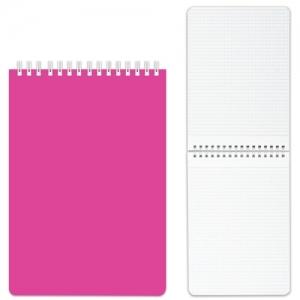 """Блокнот (110х145 мм) А6, 80 л., гребень, пластиковая обложка, клетка, """"DIAMOND"""", розовый"""