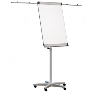 Доска-флипчарт магнитно-маркерная 70х100 см, передвижная, держатели для бумаги, 2х3 (Польша)