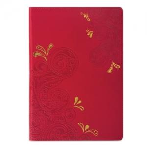 """Блокнот, А5 (148х218 мм), """"Orient"""", 128 л., кожзаменитель с тиснением, клетка, красный"""