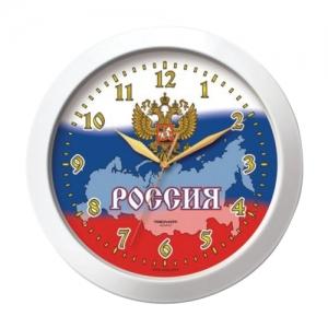 """Часы настенные Troyka 11110191, круг, белые с рисунком """"Россия"""", белая рамка, 29х29х3,5 см"""