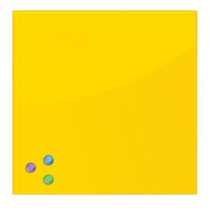 Доска магнитно-маркерная стеклянная 45х45 см, 3 магнита, желтая