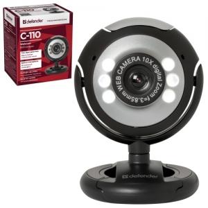 Веб-камера Defender C-110, 0,3 Мп, микрофон, USB 2.0/1.1+3.5 мм jack, подсветка, регулируемое крепление, черная