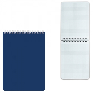 """Блокнот А5 (145х212 мм), 60 л., гребень, лакированная обложка, клетка, """"синий"""""""