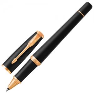 """Ручка-роллер PARKER """"Urban Core Muted Black GT"""", корпус черный матовый лак, позолоченные детали, черная"""
