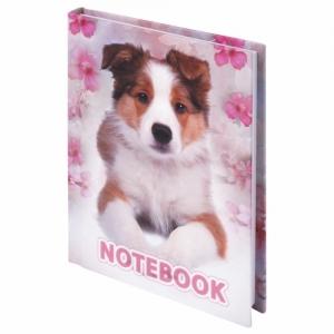 """Блокнот (110х147 мм) А6, 80 л., ламинированная обложка, выборочный лак, клетка, """"Собака"""""""