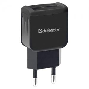 Зарядное устройство сетевое (220 В) Defender UPA-22, 2 порта USB, выходной ток 2,1 А, черное