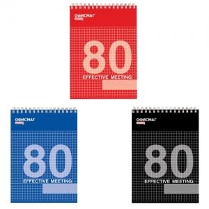 Блокнот А5 (146х205 мм), 80 л., гребень, мелованная картонная обложка, клетка, 3 вида
