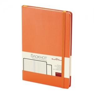 Блокнот А5 (142х214 мм), 100 л., твердая обложка, балакрон, на резинке, оранжевый