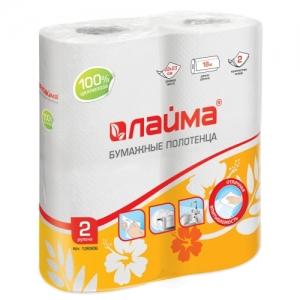 Полотенца бумажные бытовые, спайка 2 шт., 2-х слойные (2х18 м), 22х23 см, белые