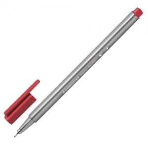 """Ручка капиллярная (линер) STAEDTLER """"Triplus Fineliner"""", карминно-красная, трехгранная, линия письма 0,3 мм"""
