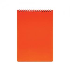 "Блокнот А5 (145х205 мм), 80 л., гребень, обложка пластик, клетка, ""DIAMOND NEON"", оранжевый"
