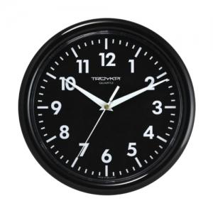Часы настенные Troyka 21200204, круг, черные, черная рамка, 24,5х24,5х3,1 см