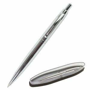 Ручка бизнес-класса шариковая BRAUBERG Opera, синяя, корпус серебристый с хромированными деталями, линия письма 0,5 мм