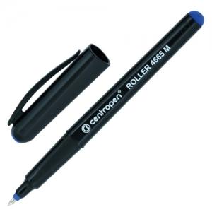 Ручка-роллер синяя CENTROPEN, трехгранная, корпус черный, узел 0,7 мм, линия письма 0,6 мм