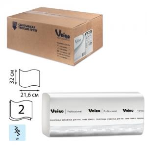 Полотенца бумажные 150 шт., Veiro (Система H2) Comfort, 2-слойные, белые, комплект 21 пачка, 32х21,6, W-сложение