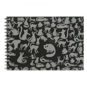 """Блокнот для эскизов А4 210х297 мм, 40 л., 160 г/м2, черная тонированная бумага, гребень, """"Ночные Коты"""""""