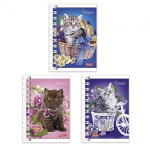 """Блокнот (67х102 мм) А7, 40 л., гребень, обложка мелованный картон, """"Нежные котята"""""""