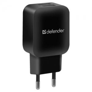 Зарядное устройство сетевое (220 В) Defender EPA-13, 2 порта USB, выходной ток 2,1 А, черное