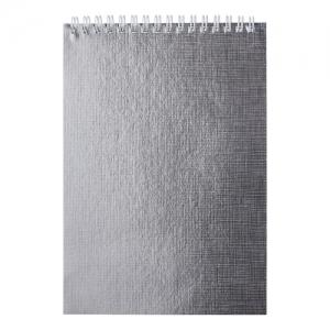 """Блокнот А5 (145х205 мм), 80 л., гребень, обложка бумвинил, цветной срез, клетка, """"METALLIC"""", серебро"""