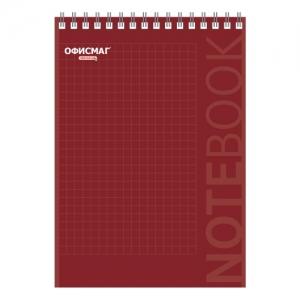Блокнот А5 (146х205 мм), 80 л., гребень, картон, подложка, клетка, красный