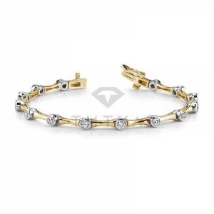 Дизайнерский браслет с бриллиантами из золота двух цветов