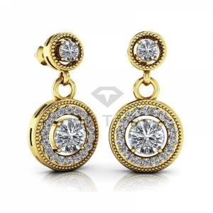 Висячие винтажные серьги из желтого золота с бриллиантами