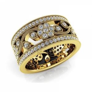 Модное винтажное кольцо Цветок с бриллиантами из желтого золота