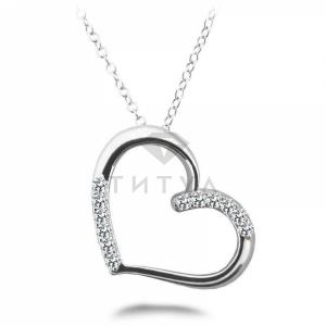 Подвеска в виде сердца с бриллиантами из белого золота