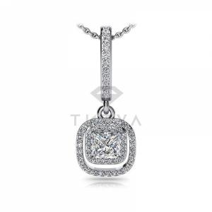 Длинная подвеска с бриллиантами из белого золота