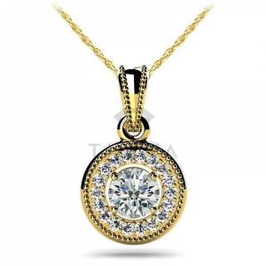 Винтажная подвеска с бриллиантами из желтого золота