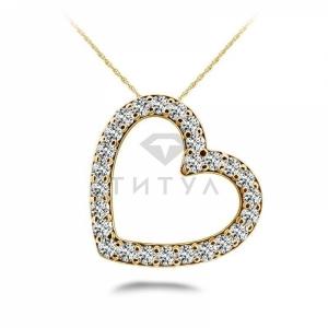 Подвеска в виде сердца с бриллиантами из желтого золота