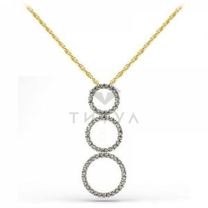 Длинная подвеска с бриллиантами из желтого золота