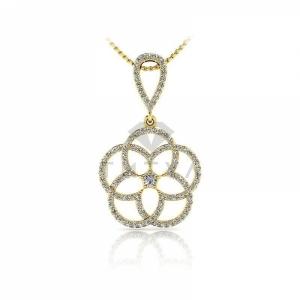 Подвеска в виде цветка с бриллиантами из желтого золота