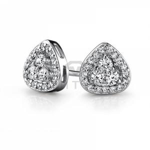 Серьги гвоздики из белого золота с бриллиантами