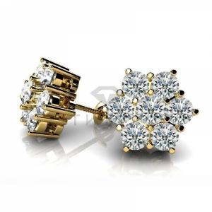 Серьги гвоздики из желтого золота с большими бриллиантами