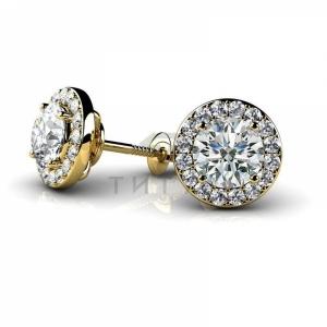 Серьги гвоздики из желтого золота с большим бриллиантом