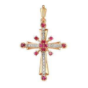 Золотая подвеска с рубином и бриллиантами