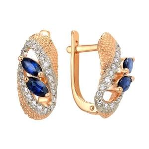 Золотые серьги с сапфиром и бриллиантами